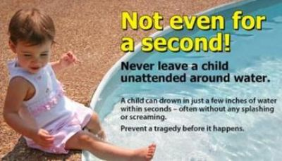Never leave a child unattended around water