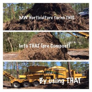 MW Horticulture Recycling turns yard waste debris into organic compost, topsoil and mulch using their Vermeer Grinders
