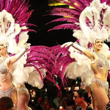 Showgirl costumes Crystal rhinestone feather headdresses pheasant and Ostrich back pieces and shoulder pieces custom costume large production