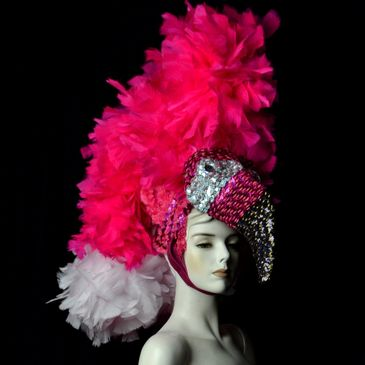 Custom Feather carnival costume Flamingo Bird Headdress and Tail