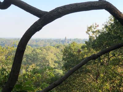 The towers of Angkor Wat temple from Bakheng hill.