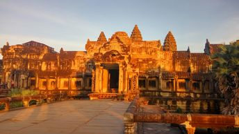 The sunset at Angkor Wat temple.