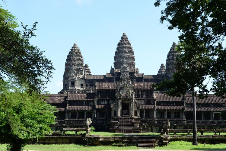 The view of Angkor Wat temple from south side.