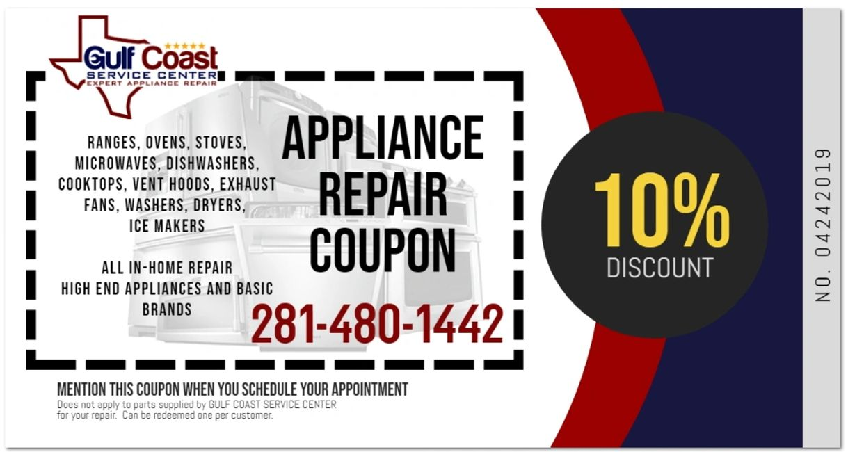 Appliance Repair Coupon, ranges ovens stoves microwaves dishwasher cooktops vent hoods exhaust fans