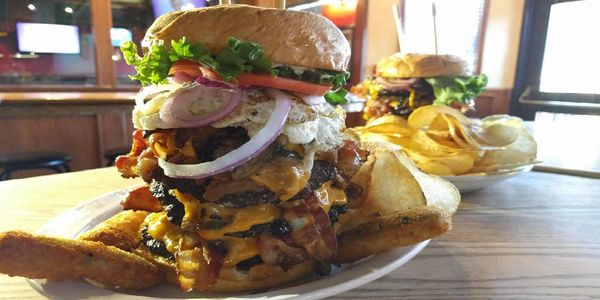 Voted Surrey's Best Burger, with fresh cut Kennebec fries. Blarney Stone Burger-Surrey's Best Pub