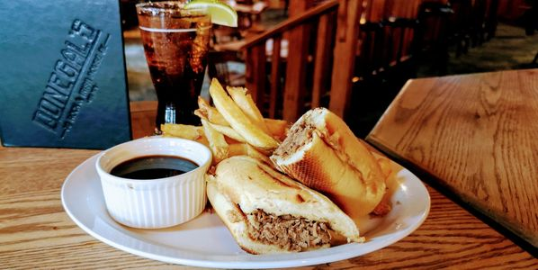 Braised Beef Dip with fresh cut Kennebec fries - Surrey's Best Pub