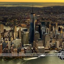 Aerial photo of New York City Skyline in the Golden Hour