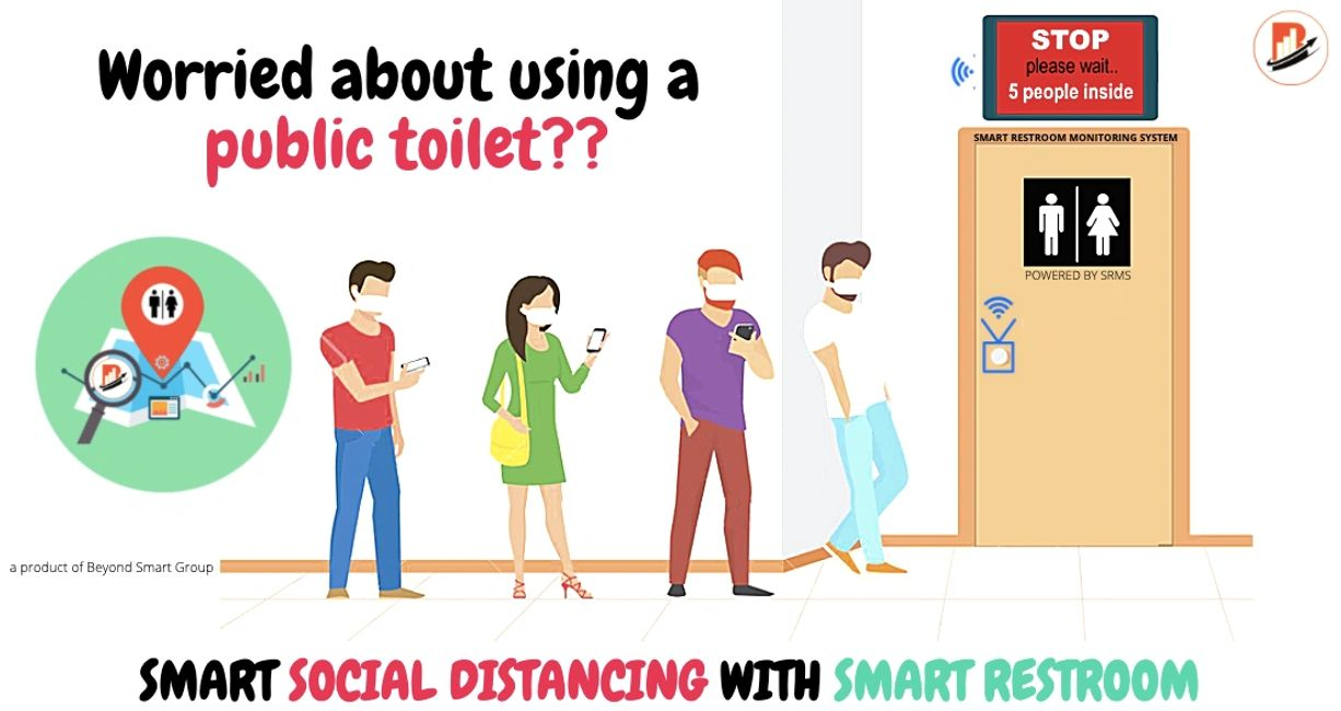 social distancing solution for smart public toilets and restroom in hotels malls airport railway