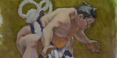"Great Grand Champion Hakuho.Original painting, 14 x 17""  for cover of Sumo World Magazine . P.O.R."