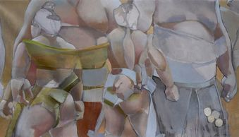"Sumo Top DIvision Opening Ceremony,  painting on canvas, 40 x 70"" $22,000."