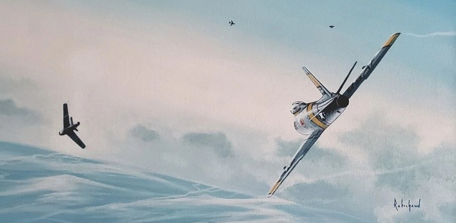 Squadron Leader Omer Levesque chases down a MiG-15 in Korean skies. Painting by Peter J. Robichaud.
