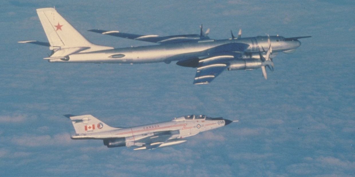 Voodoo of 425 AW( F) Squadron escorting Soviet Bear bomber off the East Coast of Canada