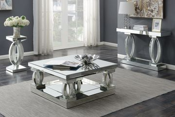 Avonlea Square Coffee Table With Lower Shelf Clear Mirror