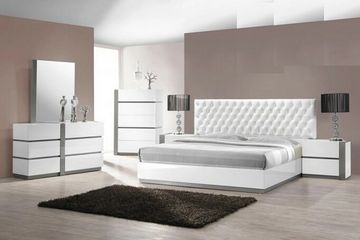 Seville White Tufted Platform Bed