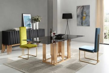 Token Modern Smoked Grey Glass & Rosegold Dining Table