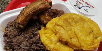 Pork Ribs, Congri & Tosotones, cuban food, fast food, food near me, something diferent