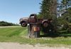"Neilburg - Rusty Chevy Truck on a pole - beside Bob's Corner Gas & Cafe on north side of Hwy 14 GPS: 52°50'31.3""N 109°37'42.7""W"