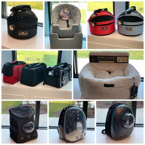 Pet carriers and car seats.
