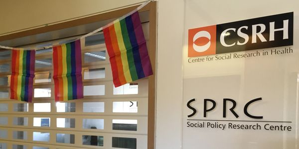 Image of Centre for Social Research in Health's reception desk, framed by rainbow flags.