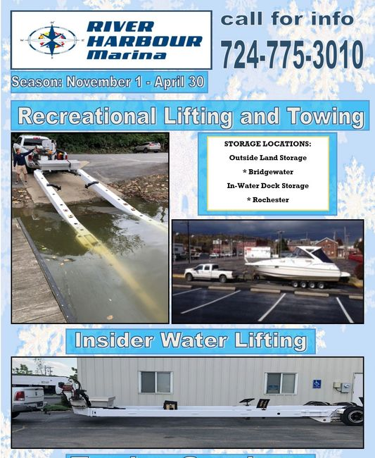 New Services:   Towing and Lifting Boats and other Recreational Vehicles offered by River Harbour Ma