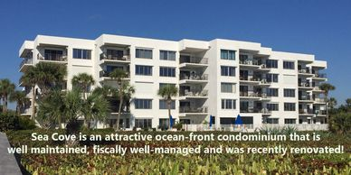 Great location & beautiful serene view from desirable ocean-front building!