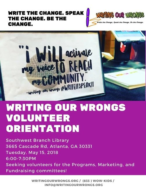 volunteer, nonprofit, orientation, writing our wrongs