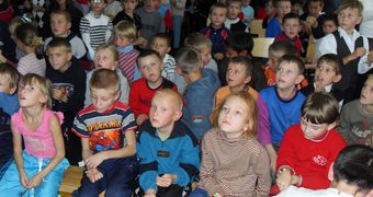 Russian Orphanage children watching the show