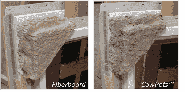 comparing cowpots packaging corners to fiberboard on windows.