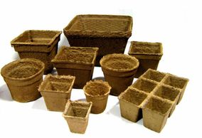 Range of CowPots sizes, round and square biodegradable pots.