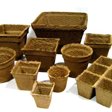 Cowpots sizes, round and square biodegradable pots.