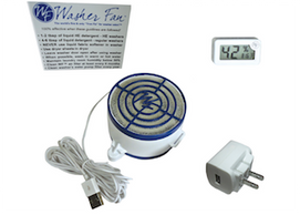 Washer Fan G5M kit with a power supply, humidity gauge, and magnets.