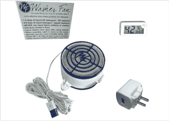 Washer Fan Breeze 5GM Kit with power supply. humidity gauge, and magnet.