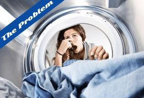 """The Problem"" showing a woman looking into her washer while holding her nose and having a disgusted"