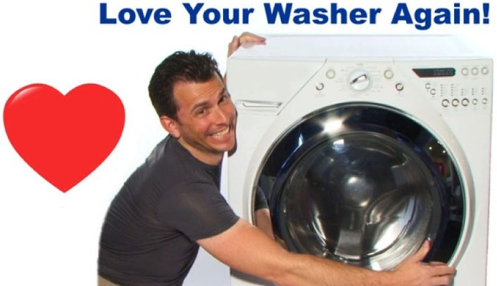 "Troy Broitzman hugging a washing machine with the text above saying, ""Love Your Washer Again!"""