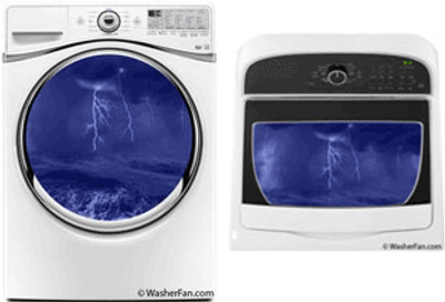 Images of washers with an edited image of a thunder storm inside.