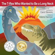 The T-Rex Who Wanted to Be a Long Neck, an illustrated children's picture book, storybook, for kids.