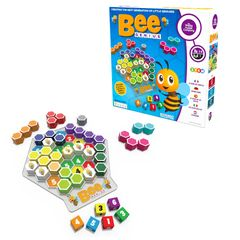 Bee Genius features dice, worker bees & colored shapes. Easy version of Genius Square for beginner