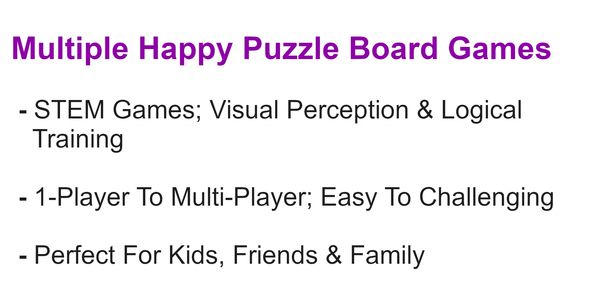 Happy Puzzle Company games also promotes visual perception;1 to multiple players, easy to hard scale