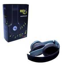 Rock And Roll It Headphones. Foldable, durable, easy to carry, stylish, affordable black earphones