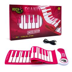 Rock And Roll It Pink Piano. Roll up pink color portable & flexible silicone 37 keys keyboard