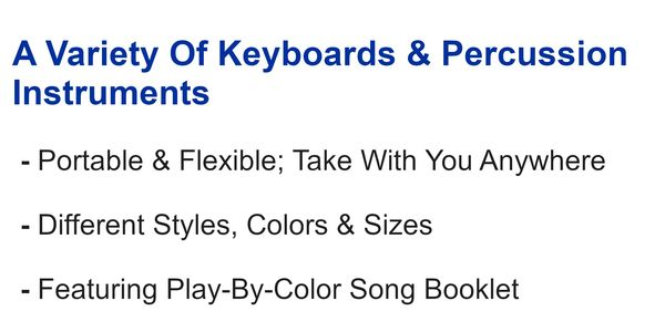 Rock And Roll It includes a variety of flexible electronic keyboards & percussion instruments