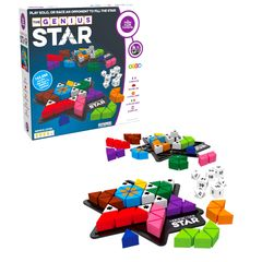 The Genius Star features dice, blockers & colored shapes. Hard version of Genius Square for experts