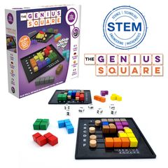 The Genius Square features dice, blockers & colored shapes, promotes visual perception & sequencing