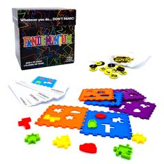 Pandemonium features tiles, coloured shape pieces & 60 challenge cards. shape & color sorting game