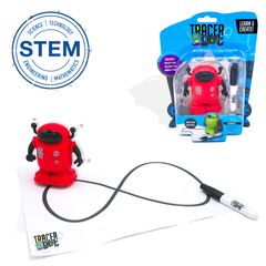 Tracerbot Red. Inductive STEM science electronic mini robot follow line you draw. Creation toy robot
