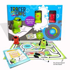 Tracerbot Set. Inductive STEM science electronic mini robot follow line you draw. Creation toy robot