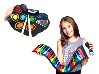 MUKIKIM's Portable electronic Instrument products CodeDrum drum pad & a girl with Rainbow Piano pad