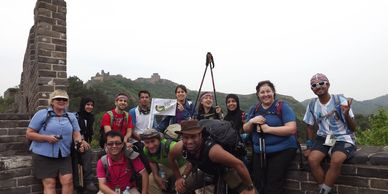 group hiking at the Great Wall