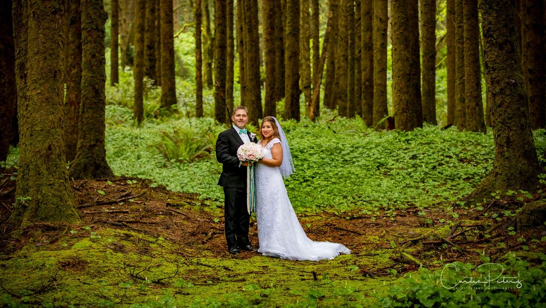 Wedding Portrait in the woods. Florence Oregon, Pacific Northwest.