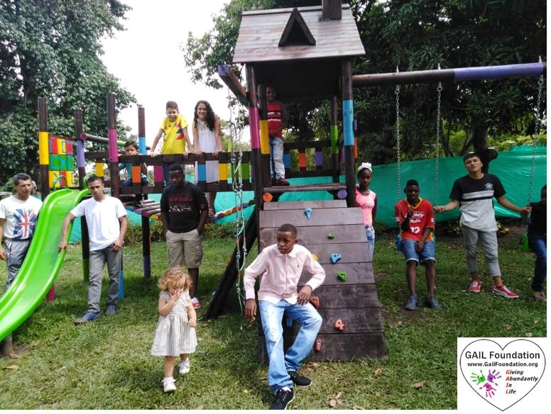 "{""blocks"":[{""key"":""79j0i"",""text"":""2019 FUNDACIÓN CASA DE RESTAURACIÓN ELI-EZER  in Colombia, South America.  After meeting the children, the GAIL Foundation Inc. built and donated play equipment with a slide, two swings and rock climbing for the children at the home and to be used by children in the town."",""type"":""unstyled"",""depth"":0,""inlineStyleRanges"":[{""offset"":0,""length"":57,""style"":""BOLD""},{""offset"":0,""length"":44,""style"":""UNDERLINE""}],""entityRanges"":[],""data"":{}}],""entityMap"":{}}"
